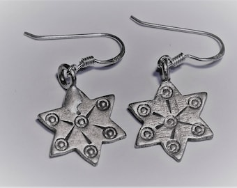 Handmade Silver Star Earrings from Northern Thailand
