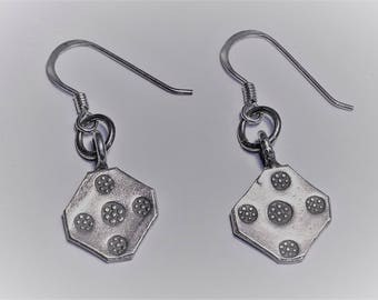 Handmade Silver Square Drop Earrings from Northern Thailand