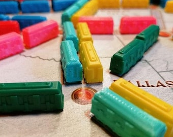 TICKET to RIDE - 45x Trains or Ships for board game (unofficial) - CASIOPEA3D design - 3D PLA Printed Boardgame piece