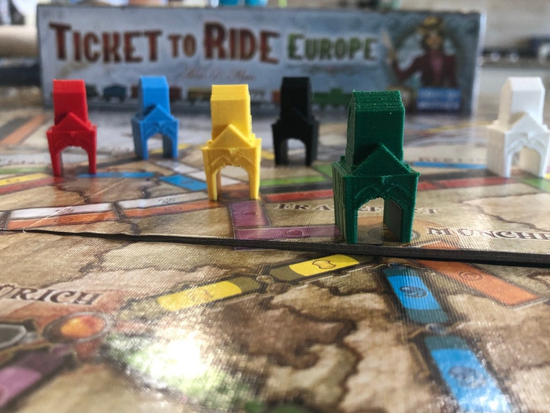 Ticket To Ride Station And Harbor Pieces For Board Game Ttr Ticket 2 Ride Unofficial Aventureros Al Tren Casiopea3d 3d Pla Printed