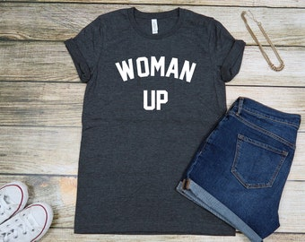 Woman up,woman up t-shirt,  wedding gifts, gifts for her, new bride,bachelorette party,festive shirt, fun shirt,blush pink,girl power shirt