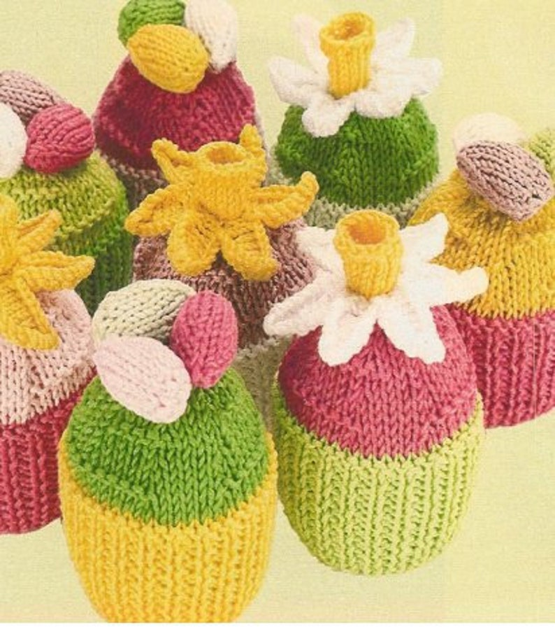 ae4ee62ef Vintage knit Easter eggs spring daffodil cupcakes double knit