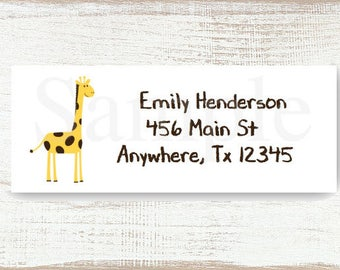 Geoffrey Giraffe - Custom address label, Return address label, Self-adhesive address label, Address stickers, Mail Stationary, Return Labels