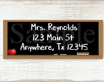 Teacher Chalkboard - Custom address label, Return address label, Self-adhesive address label, Address stickers, Stationary, Return Labels