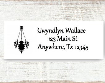 Chandelier - Custom address label, Return address label, Self-adhesive address label, Address stickers, Mail Stationary, Return Labels