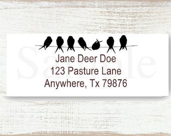 Bird on a Wire - Custom address label, Return address label, Self-adhesive address label, Address stickers, Mail Stationary, Return Labels