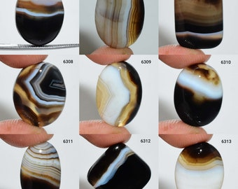 Top Grade 83 Ct 64X25 mm #6336 Natural Black Banded Agate Cabochon Black Banded Agate Gemstone Black Banded Agate Loose Stone For Jewelry