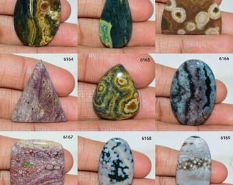 Ocean Jasper Gemstone Semi Precious Jasper Loose Stone Ocean Jasper Fancy Shape Cabochon Gemstone Healing Crystal Jasper stone Cabochons