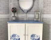 Beautiful white blue hand painted sideboard Tv Stand cupboard with flower detailing (delivery not free ask for quote)