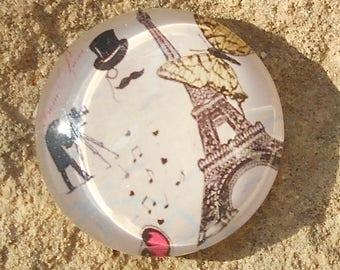 Glass cabochon 18 mm Romanian Paris designer collection