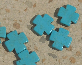 Imitation Howlite cross Peacock green Turquoise beads lot