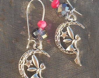 Fairy in pink and Black Moon earrings