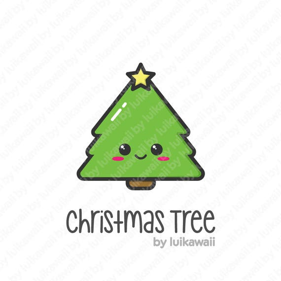 Christmas Tree Icon.Kawaii Christmas Tree Christmas Tree Clipart Christmas Tree Icon Cute Kawaii Christmas Tree Vector Clipart Christmas Tree