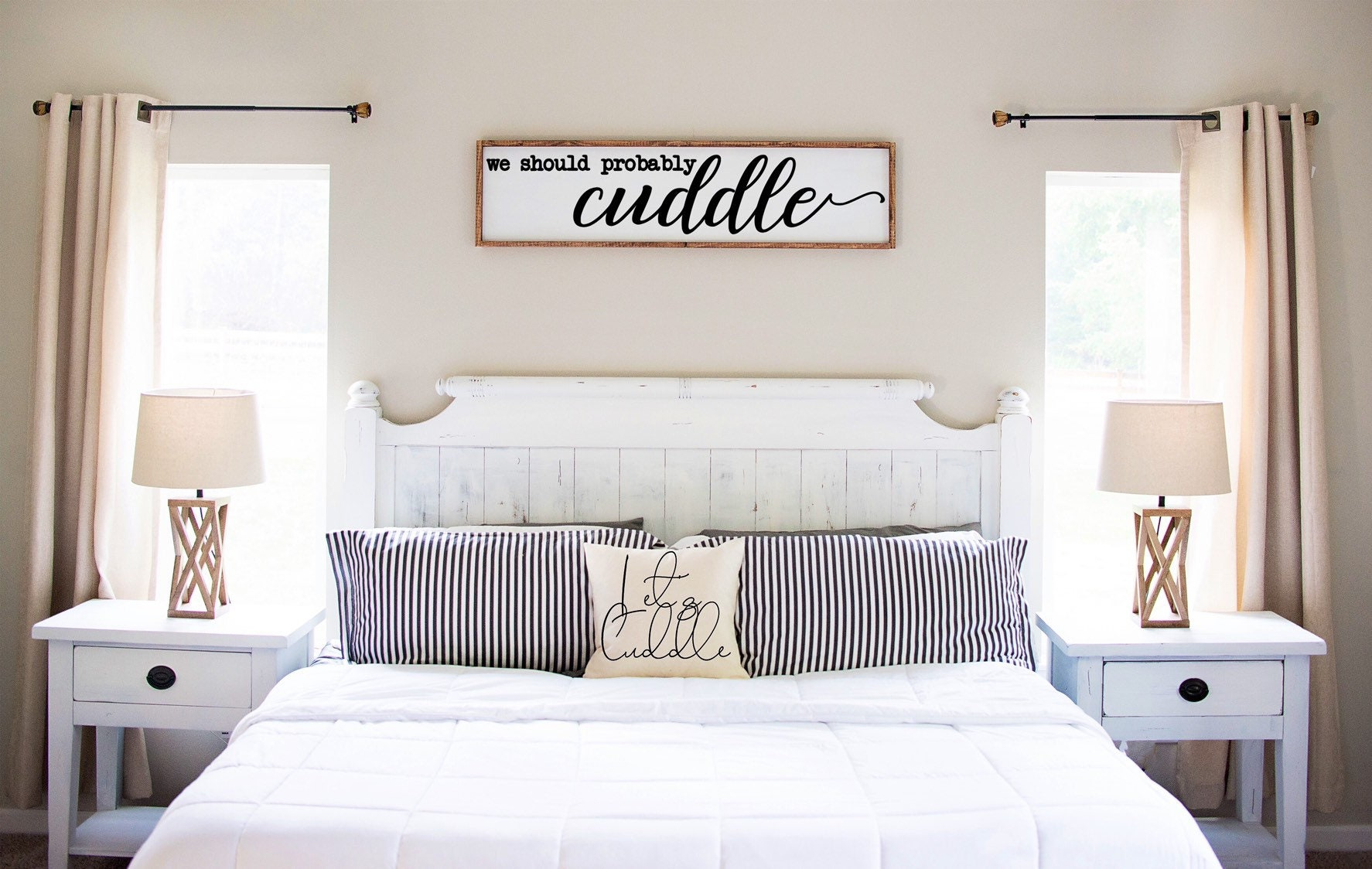 We Should Probably Cuddle Sign Wood Sign Anniversary Gift Above Bed Sign Gifts For Her Rustic Country Home Decor Farmhouse Sign
