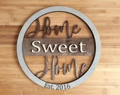 Home Sweet Home Sign Rustic Wall Decor Date Established Sign Round Wood Sign Farmhouse Decor