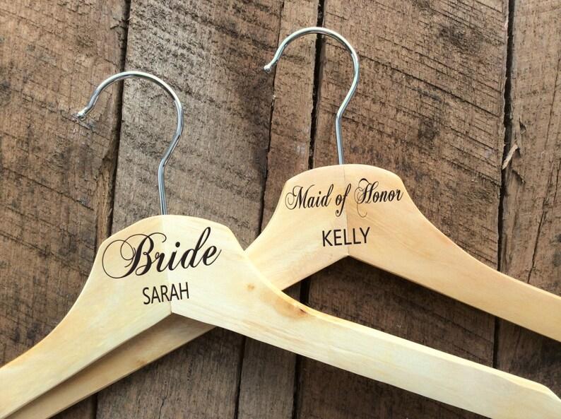 Personalized Wedding Dress Hanger Engraved Wood Bridesmaid Hangers