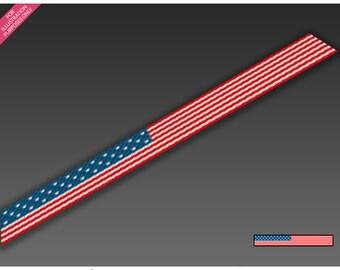 USA Flag #2 scarf C2C graph + C2C row-by-row counts - crochet, graph, c2c, mini c2c, beginner, small, easy, counts, pattern