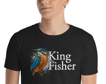 King Fisher Vector Short-Sleeve Men T-Shirt For Bird Enthusiasts - Symbolic Message Vector Shirt - Graphic Shirt