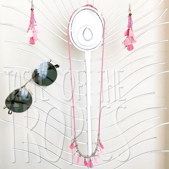 Matching Tassel Earrings Mini Tassels  Neon Orange Coral Jewelry Set Necklace Set   Layering Necklace