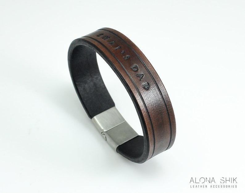 ea7a701bd35639 Personalized Brown Leather Bracelet For Men Hand Stamped   Etsy