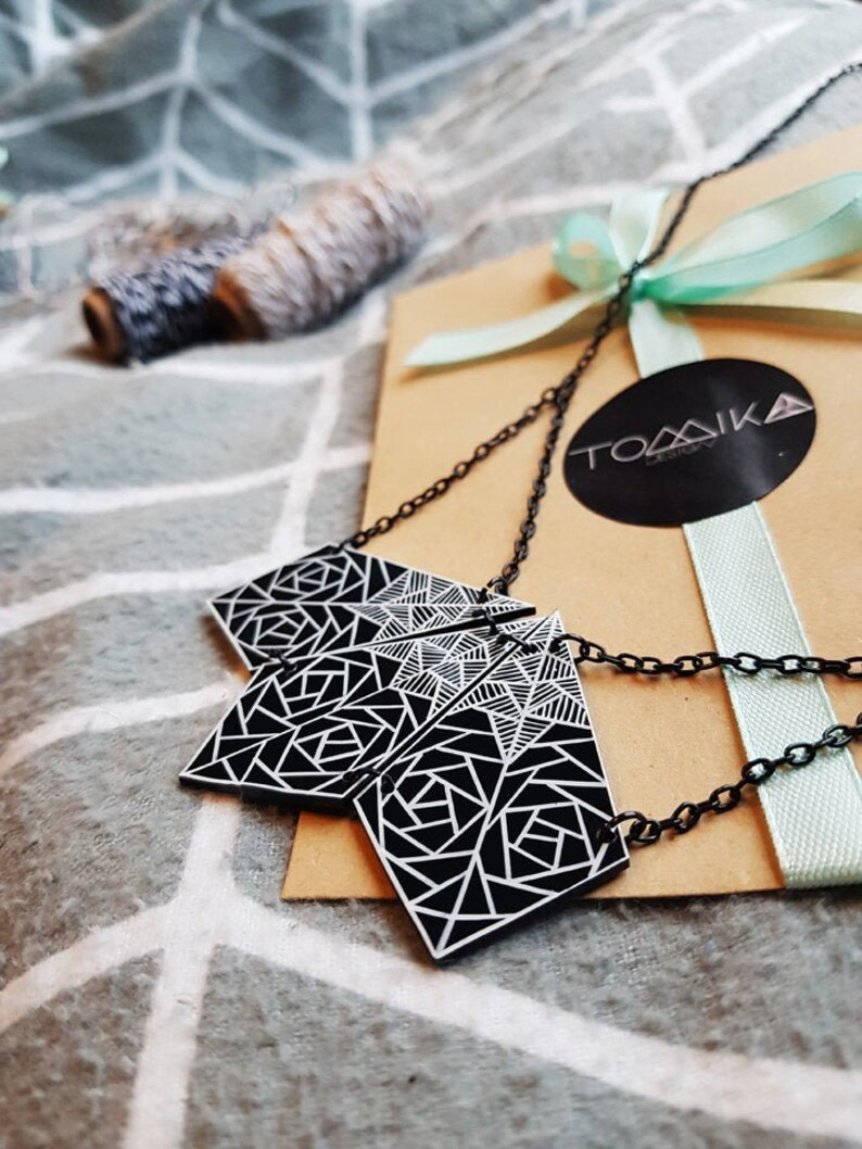 Unique Gift For Women- Personalized message Big Geometric Necklace Black And White Jewelry Black Statement Necklace