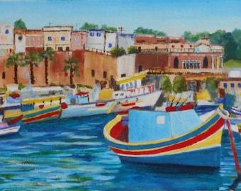 Original painting oil landscape of the Valletta Malta-small format Original landscape oil painting of Valletta - Malta-small size