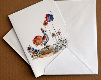 Happy Day, flower art illustration note card by Rosie Simpson