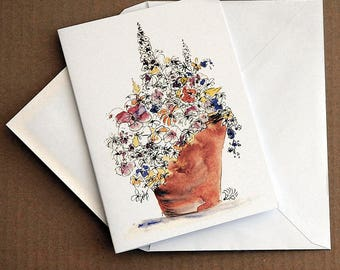 Pot of Flowers, flower art illustration note card by Rosie Simpson