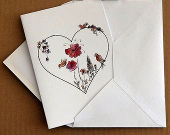 Happy Heart, flower art illustration note card by Rosie Simpson