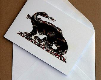 Salamander, art illustration note card by Rosie Simpson
