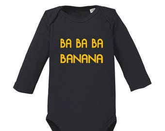 ba ba ba banana-funny long sleeve baby body organic cotton romper