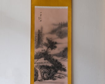 Japanese Hanging Scroll: A Cabin in the Wood (Black and White)