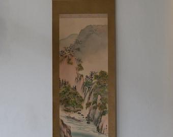 Japanese Hanging Scroll: Sailing through the Waterfall