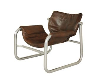 Mid Century Leather Sling Chair By Maurice Burke For Pozza, Brazil
