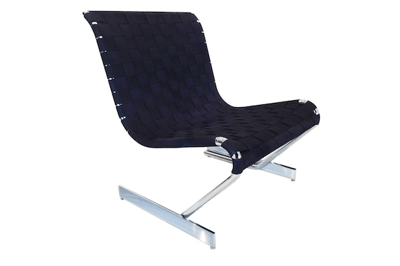 Mid Century Scandinavian cantilever chrome lounge chair