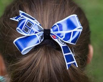 """4"""" Shiny R2D2 blue bow with black velvet center"""