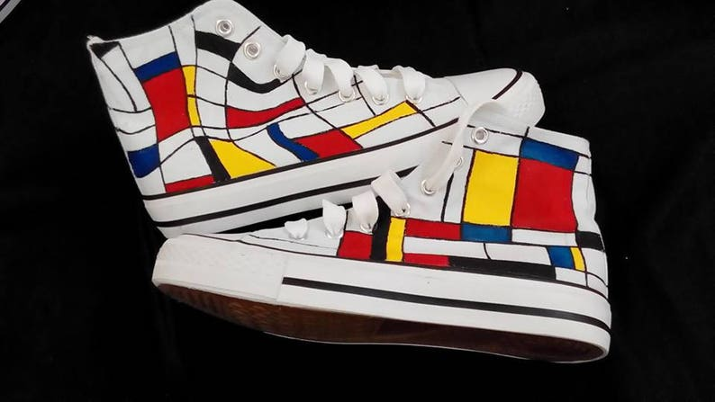 4b8a54a729f2f8 Customised shoes Mondrian shoes hand painted converse style