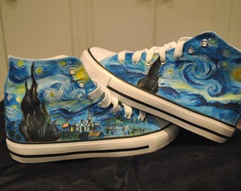 """Customised shoes, Van Gogh, """"Starry Night"""", Notte stellata,converse style trainers. REAL VONVERSE available on request.Please contact me!"""