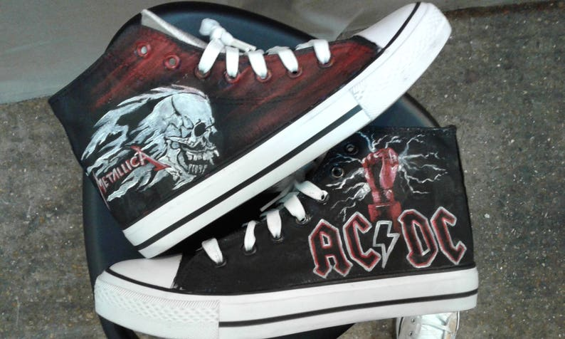 e4ad84a183d593 Metallica  ACDC shoes customised converse style trainers.