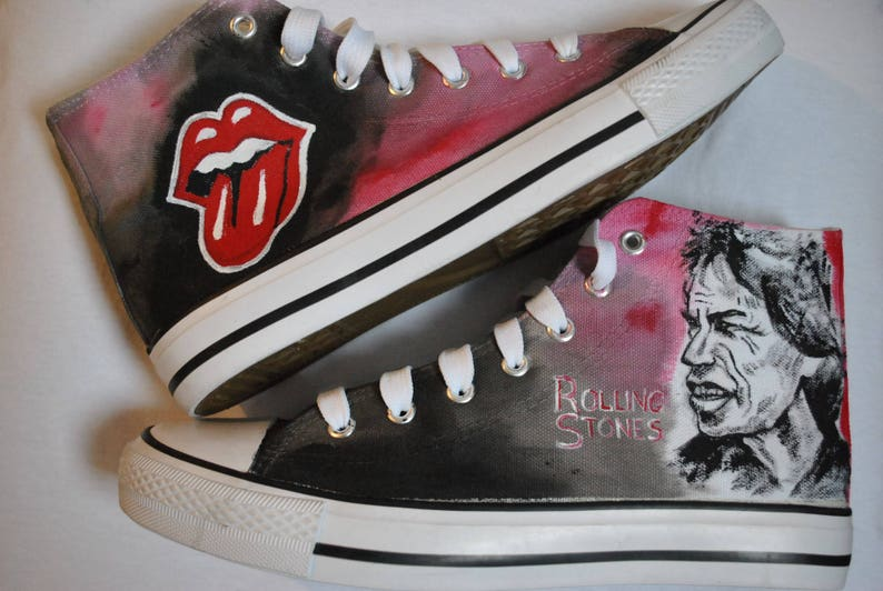 7a7eed1e5a24 Customised shoes Rolling Stones hand painted sneikers