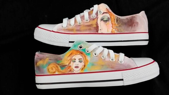 Customised trainers, portrait, Freya's tears, converse style. REAL CONVERSE available on request!