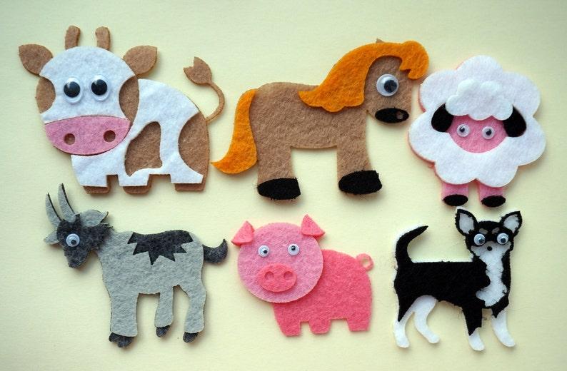6 Felt Farm Animals Set Farm Yard Die Cuts 6 Pieces Felt Etsy