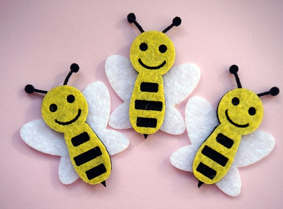 Flying Insect Shapes Die Cut Craft Embellishments Felt Bumble Bees 4
