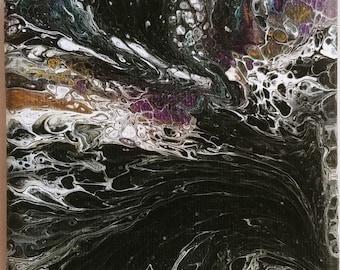 """Custom 4""""x4"""" Fluid Acrylic Pour Abstract Painting"""