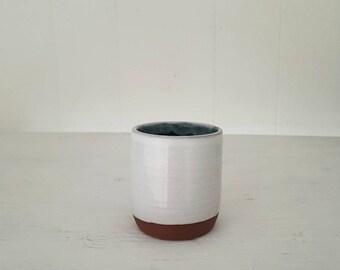 White + Green Ceramic Tumbler