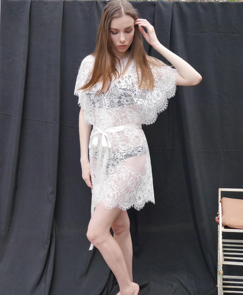 f642423ec2fa7 Women's Kimono Robe White Lace Babydoll Lingerie Mesh | Etsy