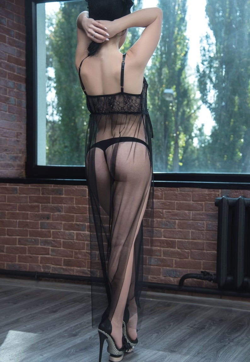 d2ff551ad2d See through tulle dress long nightgown sheer chemise lingerie