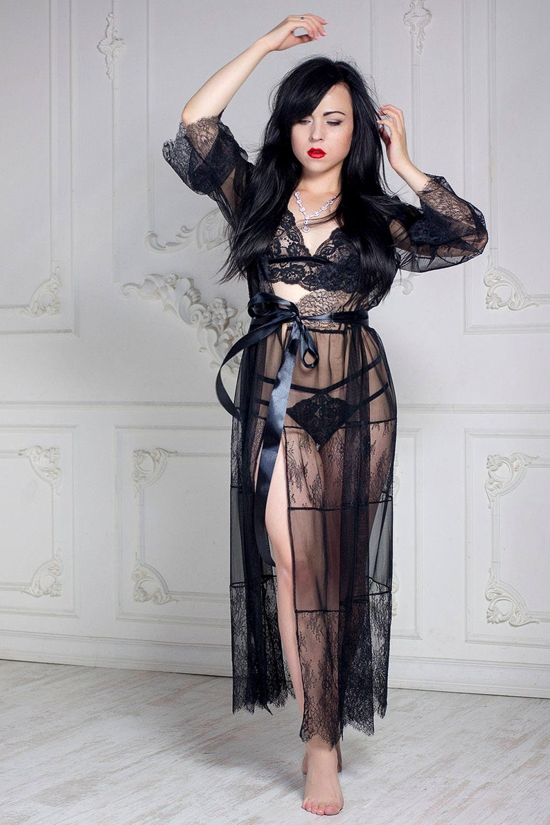 dd2d52d36d8 Black sheer lace robe long dressing gown see through peignoir