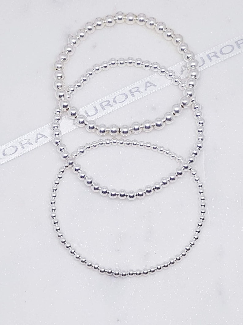 Set of 3 sterling silver bead stretch bracelets simple delicate and minimalist set of jewellery