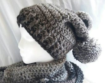 Crochet Double Pom Pom Hat